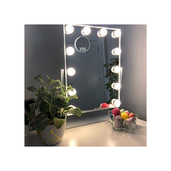 Hansong Large Hollywood Makeup Vanity Mirror with Lights Plug in Light-up Professional Storage Removable 10x Magnification 3 Color Lightin, One Size, white