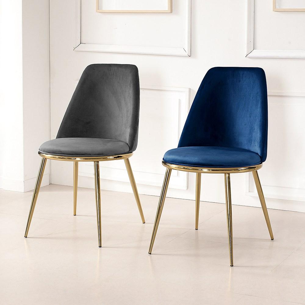 라로퍼니처 세라 골드 체어 카페 의자 인테리어의자 벨벳, 네이비