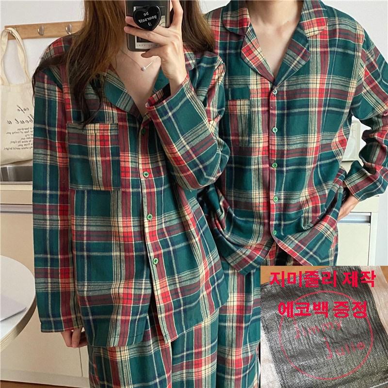 지미줄리 크리스마스 기모 체크패턴 커플 파자마잠옷 카라잠옷 체크커플잠옷세트