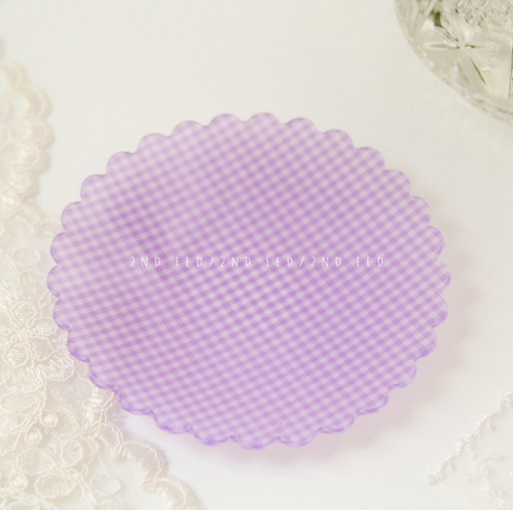 레트로 체크 플라워 플레이트 12종 빈티지 접시 감성 브런치 귀여운 꽃무늬 안깨지는 그릇, 라지 퍼플 체크