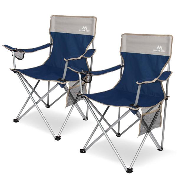 마운틴스토리 필드 캠핑체어세트 1+1 캠핑의자 낚시의자, 네이비