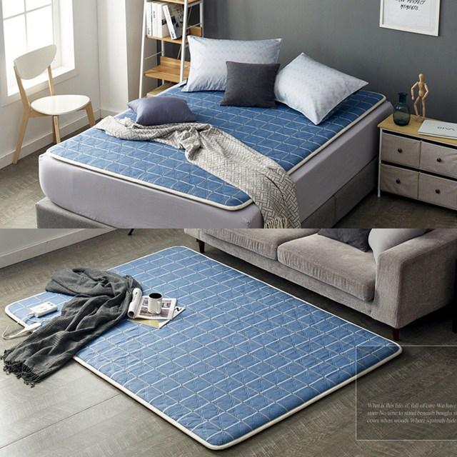 전자파없는 항균 극세사 전기매트 온열매트 무자계 전기장판 1인용 2인용 미니 싱글 거실 침대 캠핑, 보드 블루-더블(원난방)