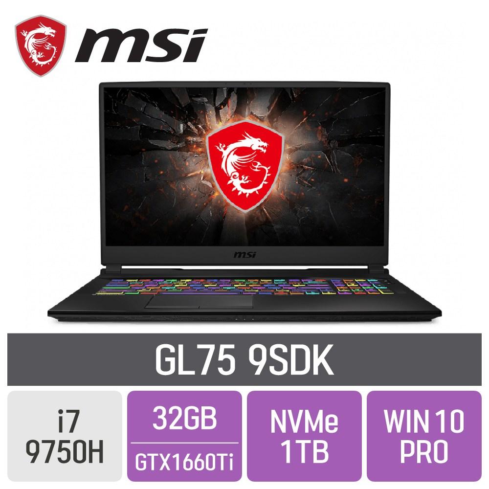 MSI 게이밍노트북 GL75 9SDK [게이밍마우스 증정], 32GB, SSD 1TB, 포함