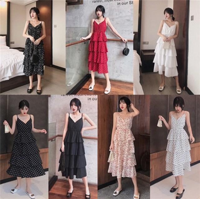 여성 여름옷 프렌치 브이넥 디자인 나시 캉캉 스커트 스커트 원피스PLA519