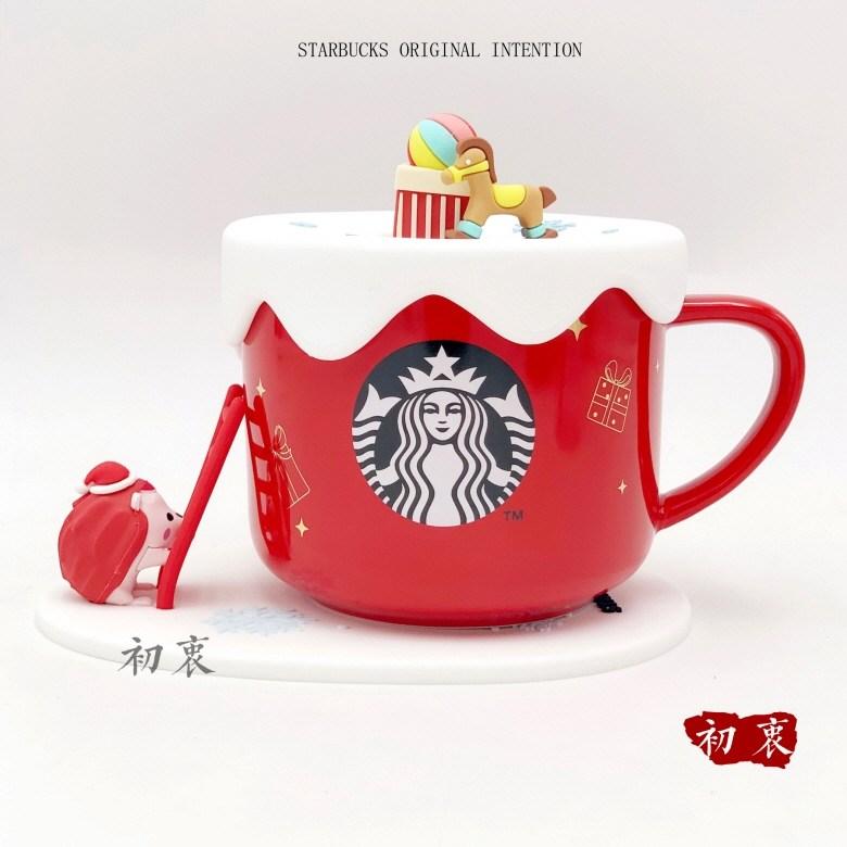 starbucks 스타벅스 컵 머그컵 뚜껑 컵받침 세트 고슴도치 사다리 등반 머그잔 500ml