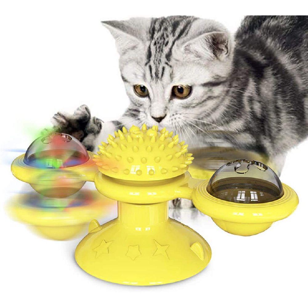 RUCKO 개박하 장난감 Windwill 고양이 장난감 턴테이블 괴롭 히고 대화 형 장난감 헤어 브러쉬 치아 청소, 상세페이지참조, none