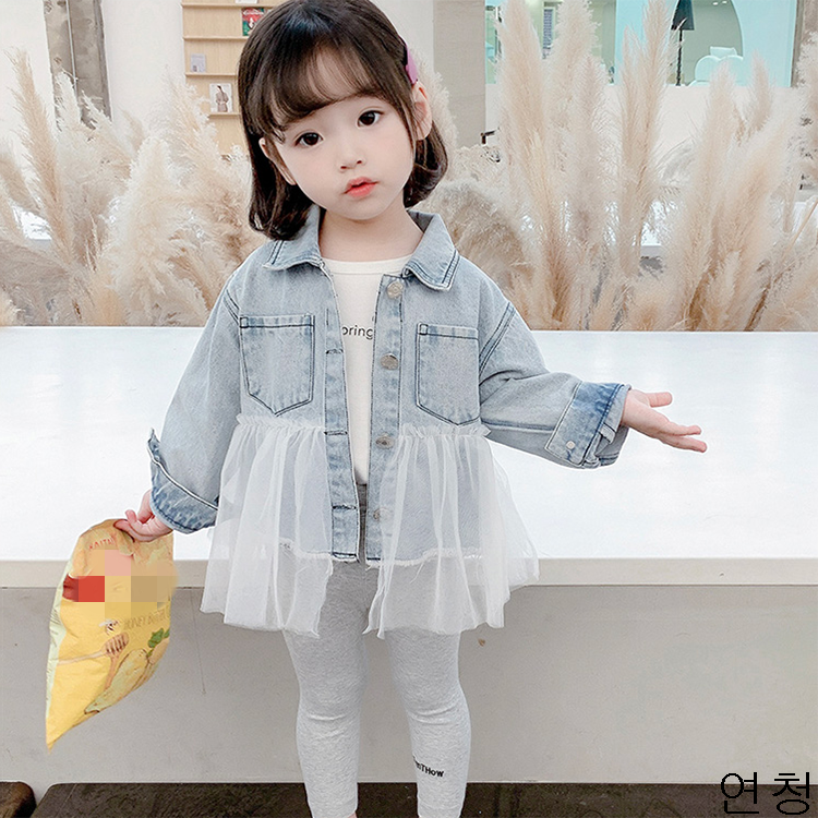 굿데이 컴퍼니 여아 캐주얼 봄 가을 얇은 데님재킷 아동 바람막이 청점퍼 패션 코트 lGNW04