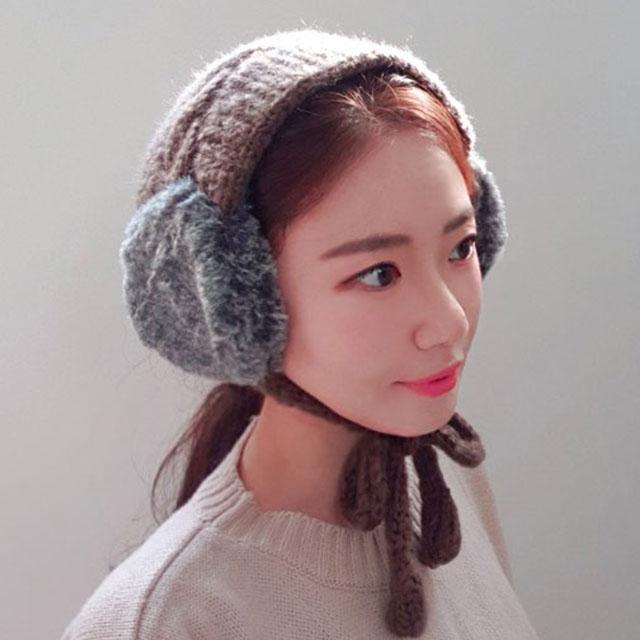 이코마켓 포슬포슬 여성 겨울 니트 귀도리 꽈배기 털 귀마개 귀돌이