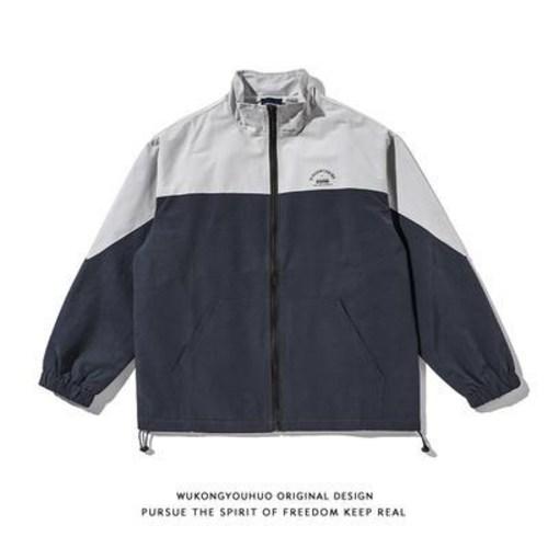 유니폼 야구 오공 유품춘 배색 칼라 야상 스타일 오버핏 커플 기능 코치 재킷 남녀