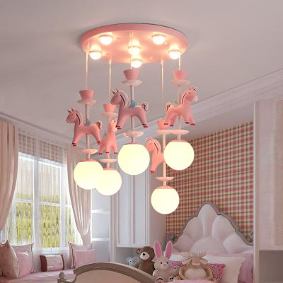 회전목마 유니콘 마카롱 어린이방 아이방 샹들리에 조명(백색 황색 중색 조명 가능), 핑크(3개)