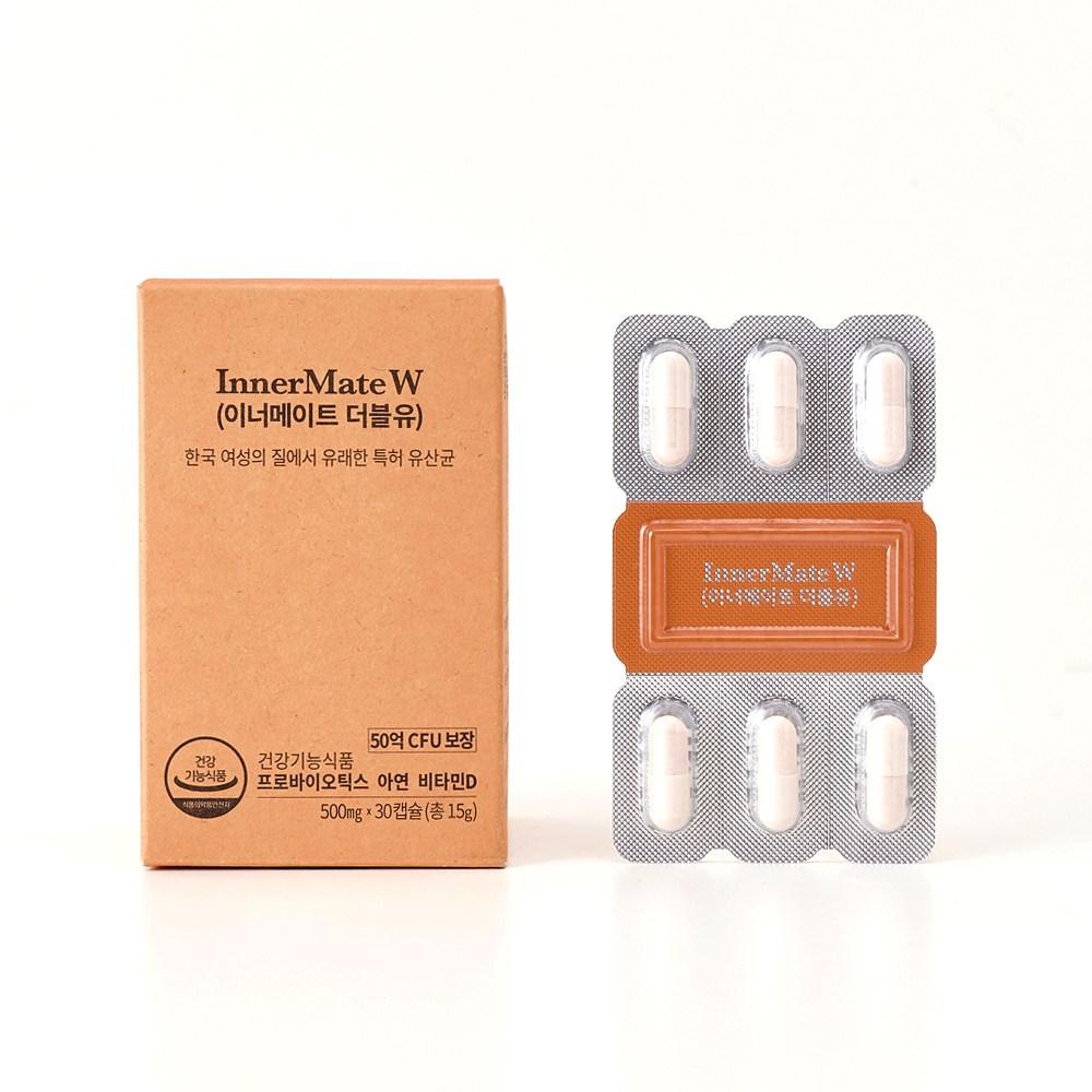 티읕 여성 질 유산균 50억보장 + 면역력 이너메이트 더블유 1팩 30캡슐, 15g / 500mg / 30캡슐