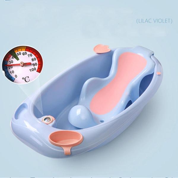 뽀뽀아가 어린이 욕조 신생아 유아 목욕통 온도계 ET0064 유아욕조, 블루+등받이