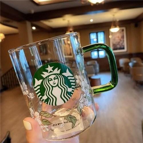 스타벅스 새로운 녹색 핸들 대용량 유리 커피 컵 우유 컵 물컵