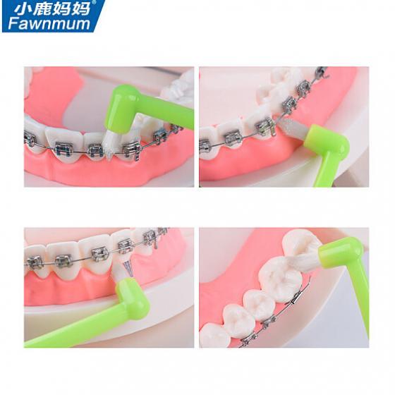 차이나차차 사슴 엄마가 한 교정 치아 전용 솜털 이가 사랑니 2개 전동칫솔, Orthodontic tooth ga Default