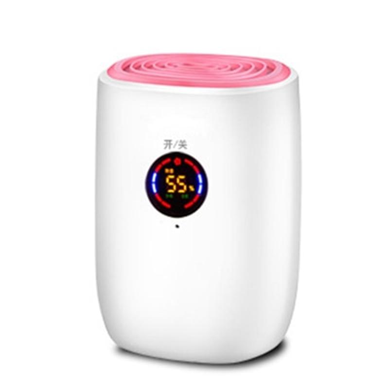 전기 미니 공기 제습기 800ml 휴대용 LED discplay 공기 청정기 기계 자동 전원 끄기 가정용 100-240V EU 용 제상, 협력사, 터치 모델-핑크