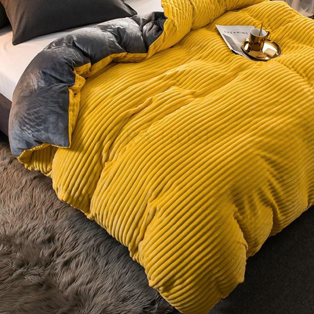 kirahosi 홈웨어 겨울 양털극세사 이불커버 싱글 따뜻함 119호+덧신증정 Pad6ppl, 옐로우