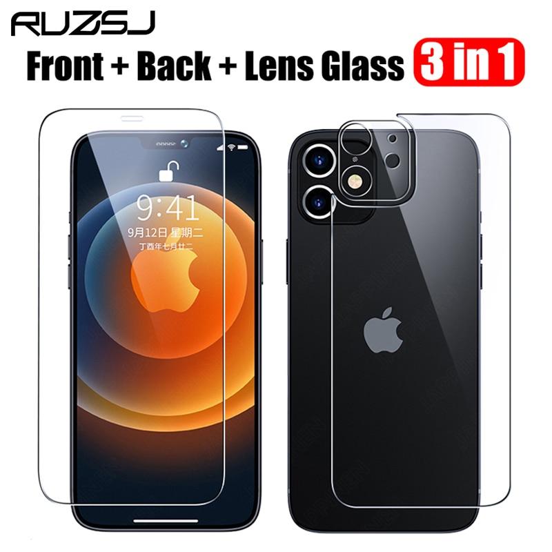 ruzsj 3 in 1 전면 및 후면 강화 유리 iphone 12 pro 용 최대 화면 보호기 카메라 렌즈 mini, 3 in 1 Galss, For iphone 11 Pro (POP 4799991961)