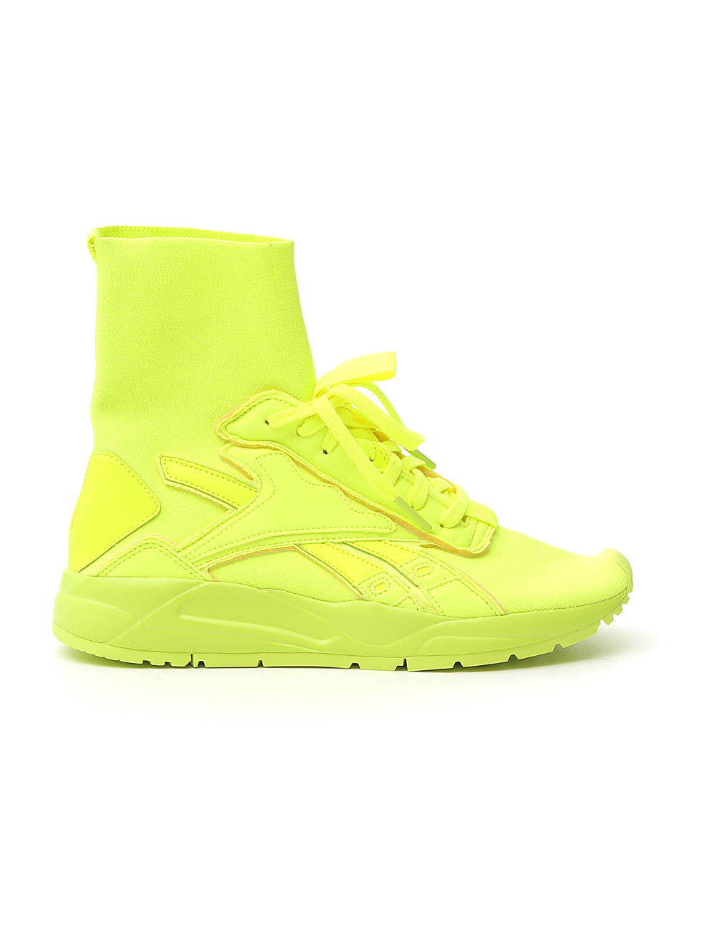 REEBOK x VICTORIA BECKHAM yellow leather hi top sneakers FU7522