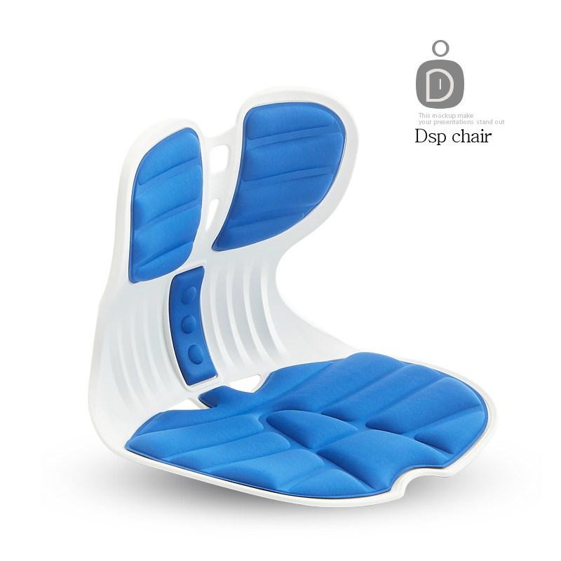 [DSP] 콤비체어 커브 좌식 바른자세 허리교정 의자 등받이, 콤비D14-블루
