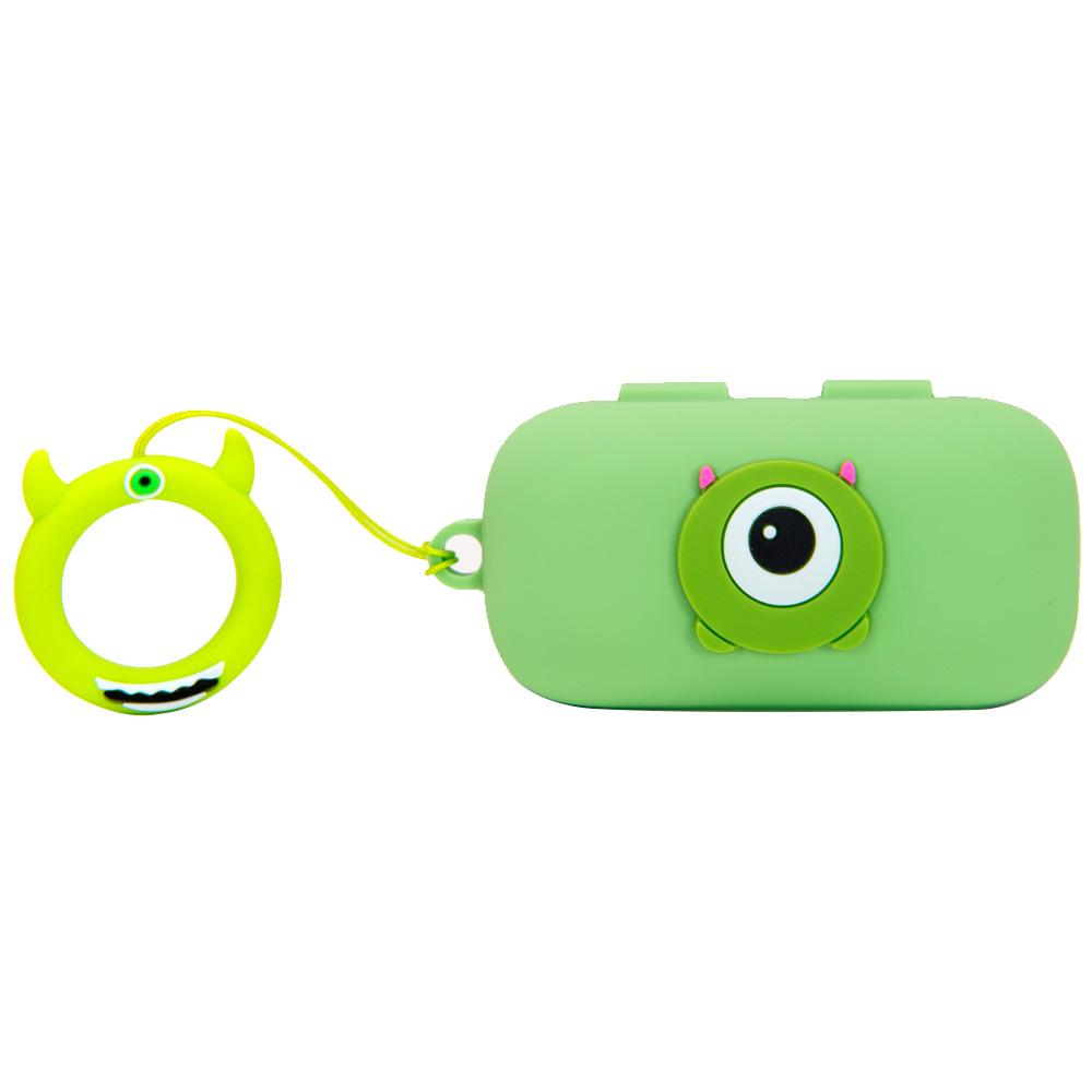 핵토이 QCY T5 T5S 블루투스 이어폰 케릭터 케이스 무선이어폰 실리콘, 그린몬스터