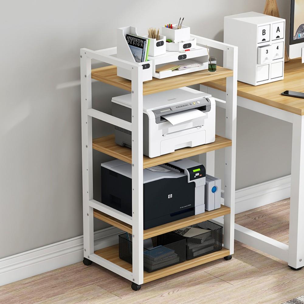 프린트 선반 복합기 복사기 팩스 받침대 거치대 다이 정리대 테이블 수납, 유형 B 4 레이어 흰색 프레임 + 밝은 호두 색상 레이어 간격 조절 가능 100cm 높이 2.5 * 5