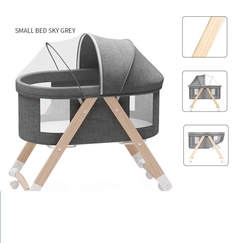 쥬베스 아기 침대 원목 다목적 이동 침대-Q3036DR, 그레이