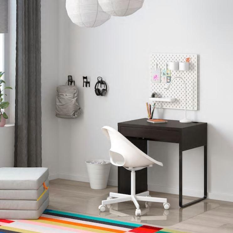 IKEA 이케아 1인용 고등학생 원룸 컴퓨터 책상, 블랙 브라운