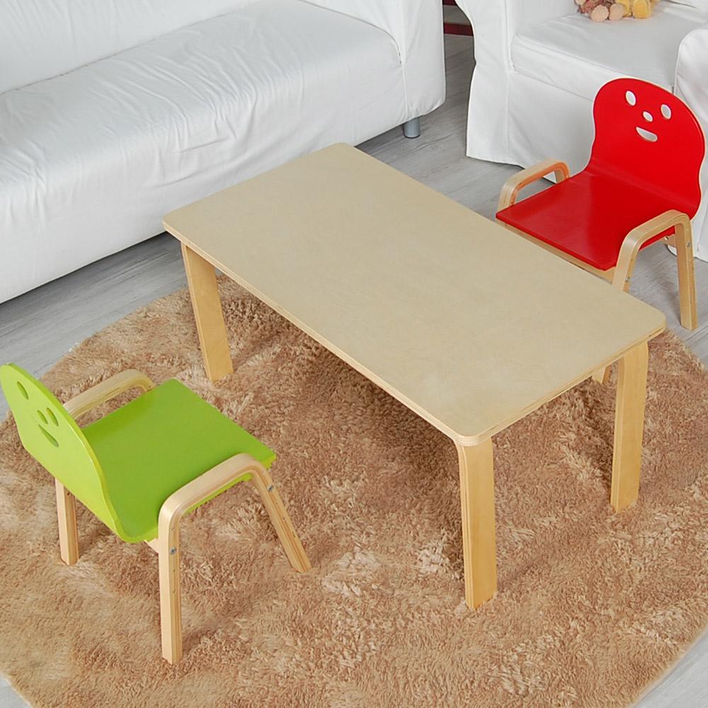 토리 원목 유아 오리지널의자 직사각 책상세트 2-7세, 유아 직사각 내추럴 책상 / 오리지널의자 빨강 2개
