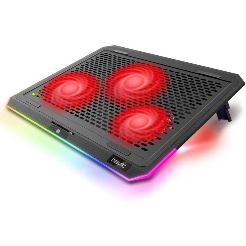 havit RGB 노트북 냉각 패드(조음 팬 3개 포함) 및 터치 컨트롤 퓨어 메탈 패널 휴대용 냉각기(검은색+