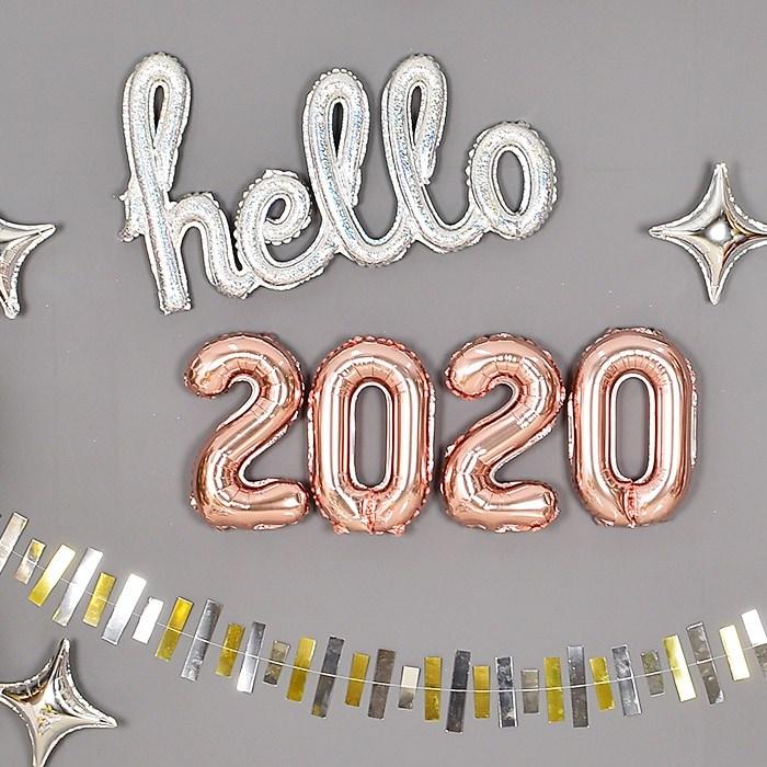 파티마트 2020 숫자 은박풍선 세트, 은박풍선세트 2020 [소] 로즈골드