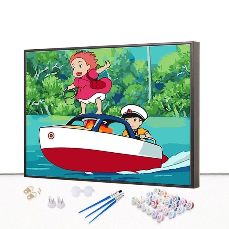 벼랑위의 포뇨 피포페인팅 유화 DIY 그림 그리기 세트 10종, 580 + 40x50cm