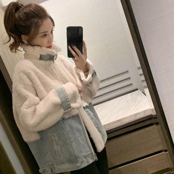 가바바 여성 겨울 숏무스탕 귀엽고 사랑스러운 스타일 데님 포인트 터틀넥 손목 스트랩 데일리 양털무스탕 G41237