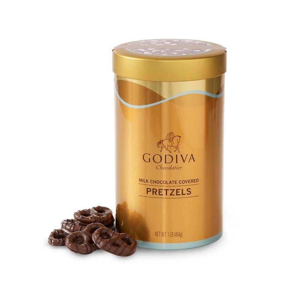 Godiva Chocolatier 고디바 밀크 초콜릿 프레첼 Canister 선물 친구 가족 단짠 간식 66조각 454g