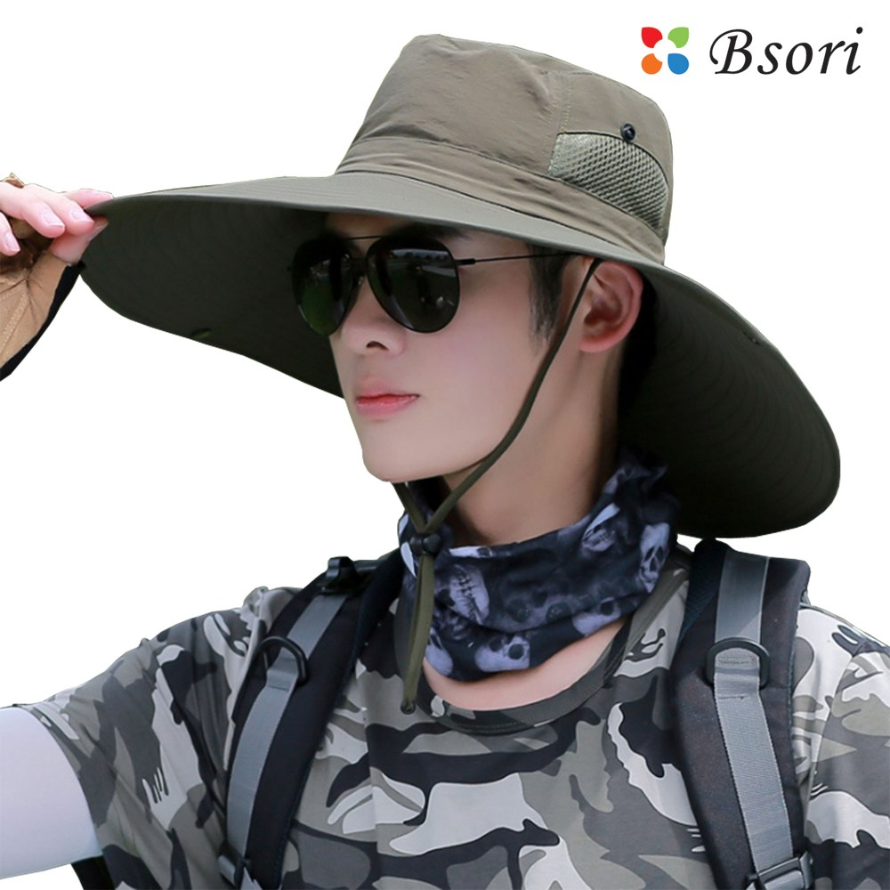 Product Image of the 비소리 큰챙 (와이드) 벙거지모자 6종_등산모자 낚시모자 캠핑모자 자외선차단모자 썬캡 썬바이저, 카키