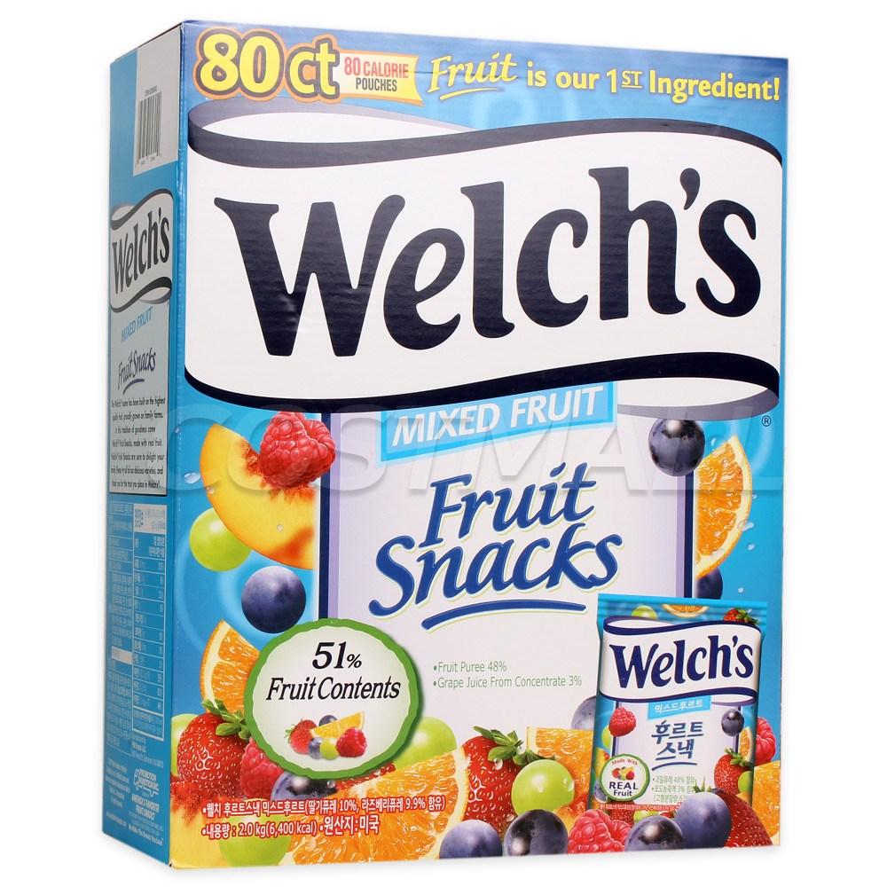 Welchs 웰치스 후르츠 믹스 젤리 80개 과일젤리 후르트 스낵, 1팩