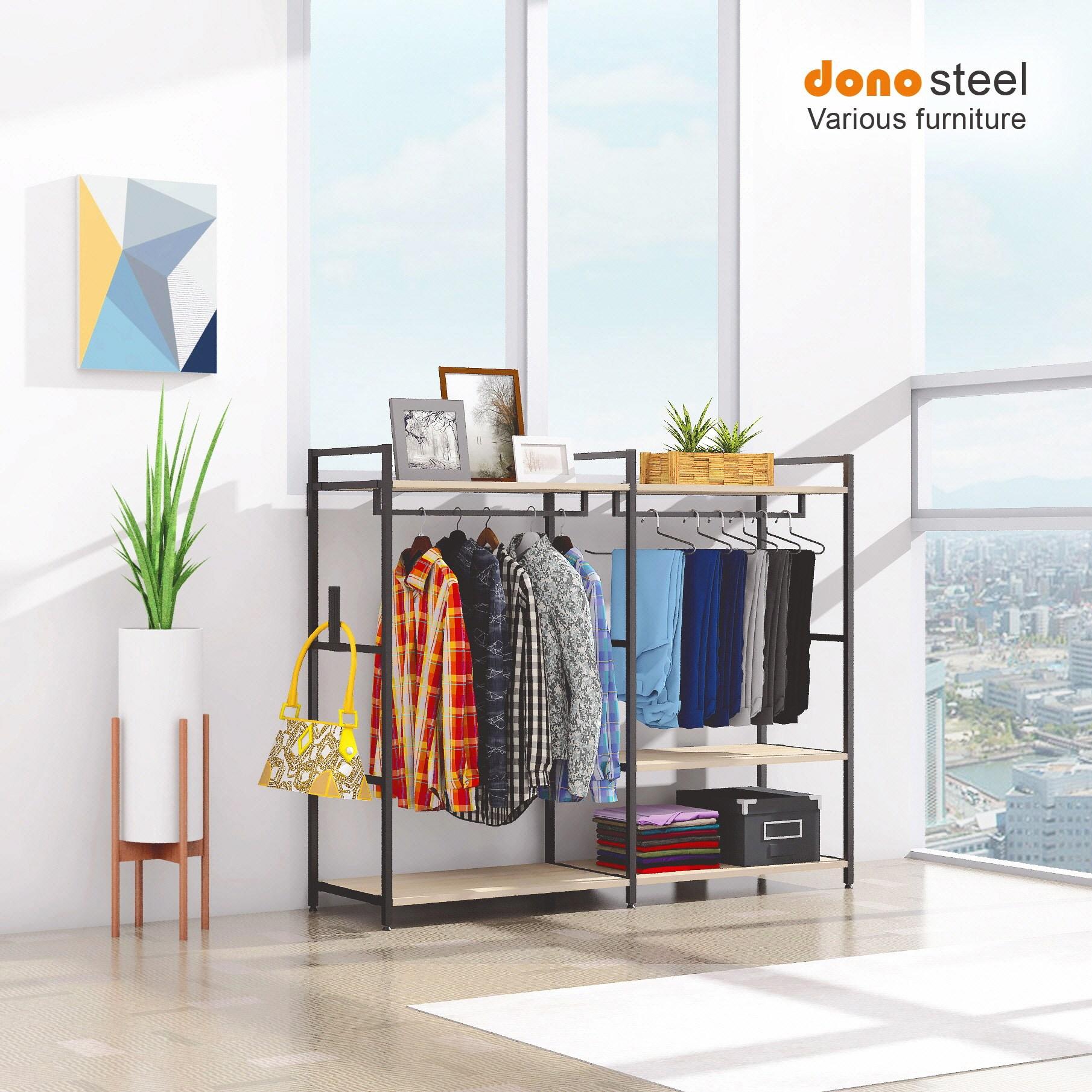 도노스틸 올리카옷장 6단4단 2칸 드레스룸 시스템옷장 철제, E2. 옷장 4단2칸 (1행거+바지걸이)-도노오크