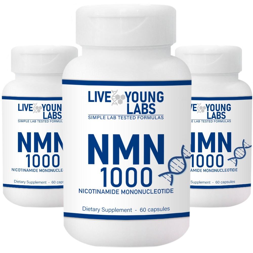 리브영랩스 NMN 순도 99.9% 1000mg NAD+ 60캡슐 니코틴아미드 3병