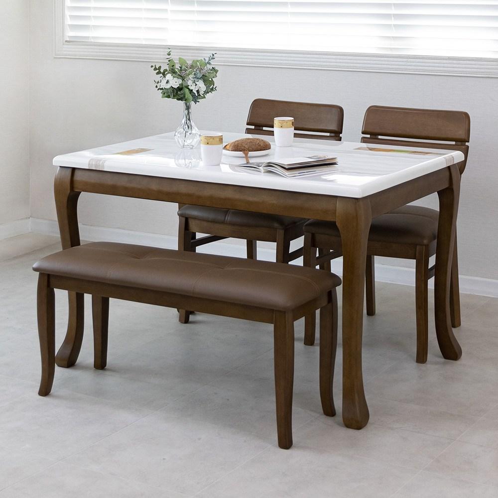 라로퍼니처 프렌치 앤틱 대리석 원목 4인용 식탁 세트(식탁+의자2+벤치1) 식탁세트, 단품