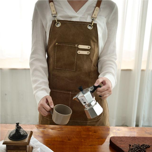 오가닉라이프 캔버스 앞치마 모음 바리스타 카페 공업 작업용 앞치마 다용도 포켓 이니셜 로고 자수 나염 가능, 캔버스 앞치마(프리미엄-카푸치노)