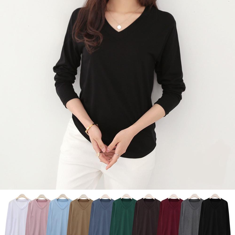 데일리앤 1+1 아이콘 여자 베이직 브이넥 티셔츠