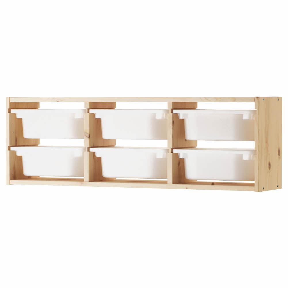 벽수납장 소나무 라이트화이트스테인 소나무 화이트 트로파스트 93x21x30 cm, 기본