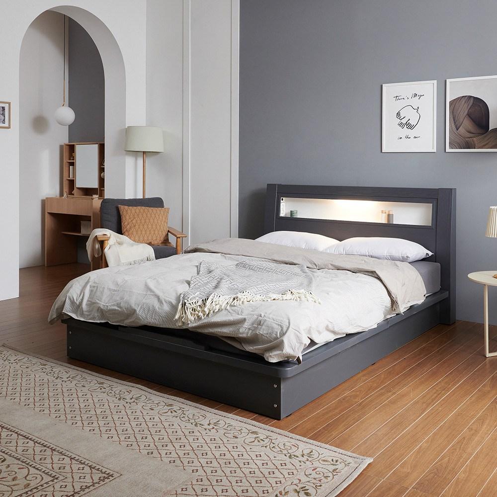 크렌시아 라이 LED 평상형 슈퍼싱글/퀸 침대프레임 (매트제외), 그레이, 퀸