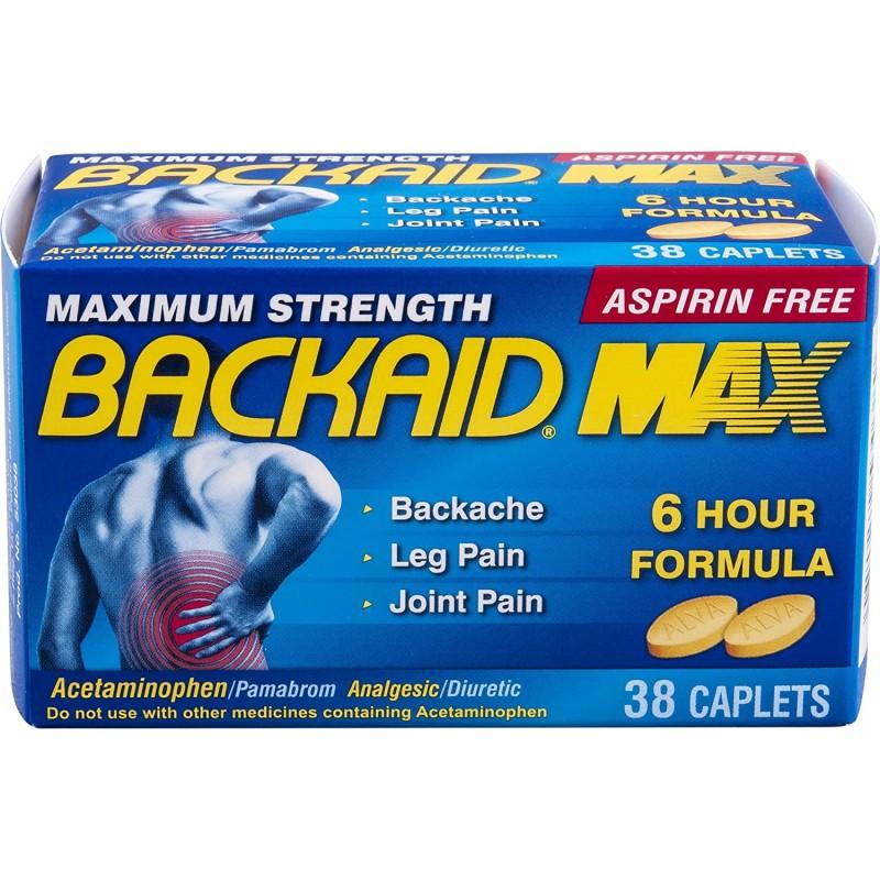 Backaid Max Relief Caplets 요통 좌골 신경통 및 다리 통증에서 아스피린이없는 통증 완화 오래 지속, 1, 단일상품