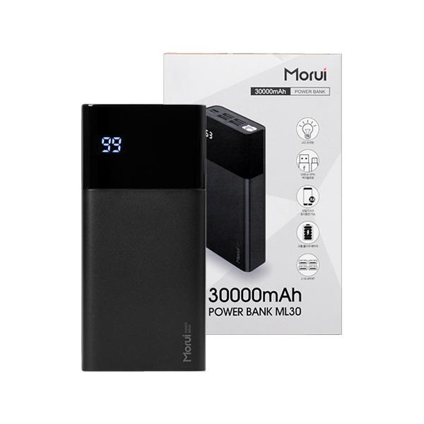 모루이 30000mAh 4포트 LED 잔량표시 보조배터리 사은품 젠더+이어폰, 블랙, ML30