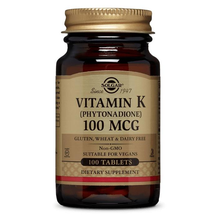 Solgar 비타민 K (파이토나다이온) 100mcg 타블렛, 100개입, 1개