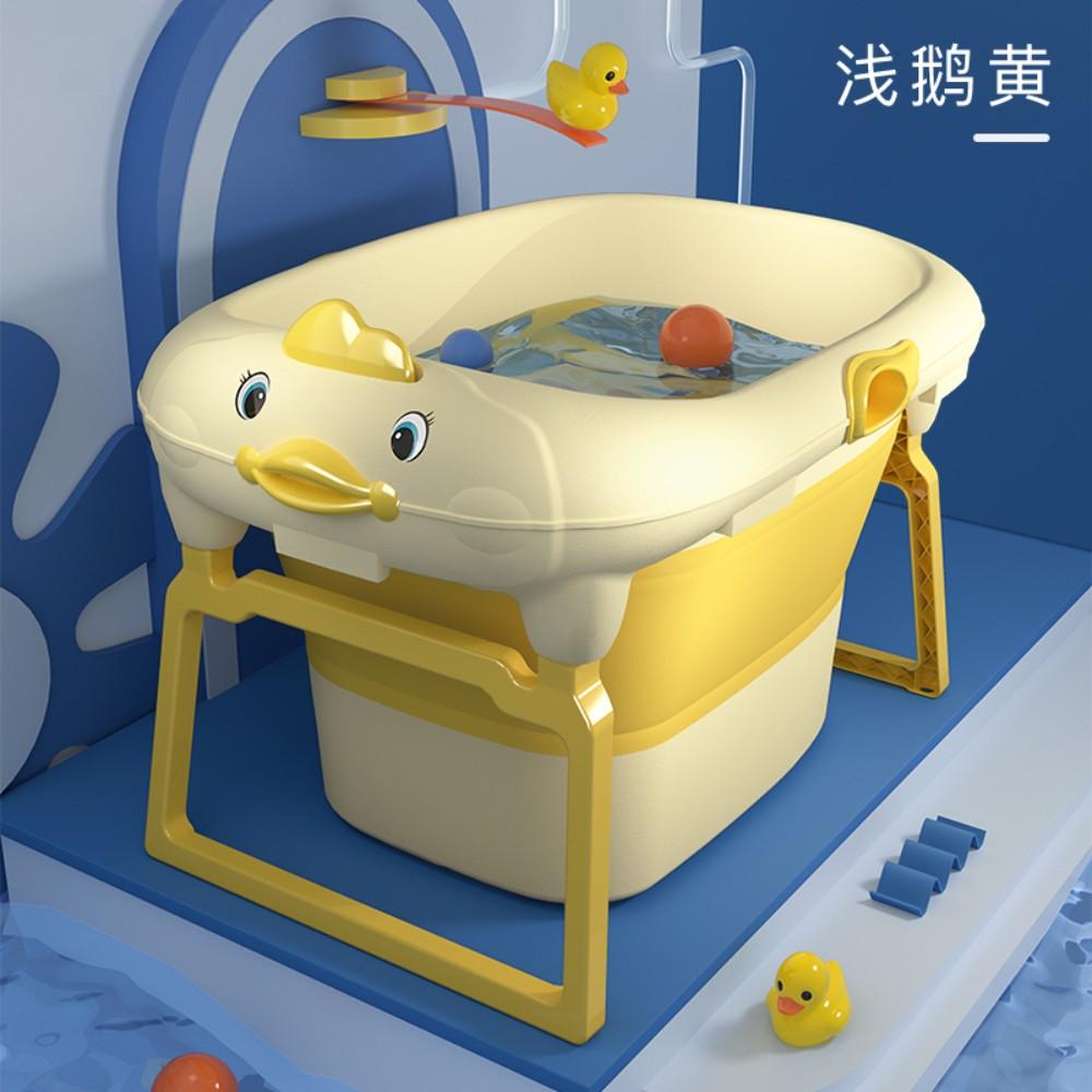 이동식 접이식 성인 서지혜반신욕기 미니 간이욕조, 1개, 어린 이용 옐로우 + 수영 반지