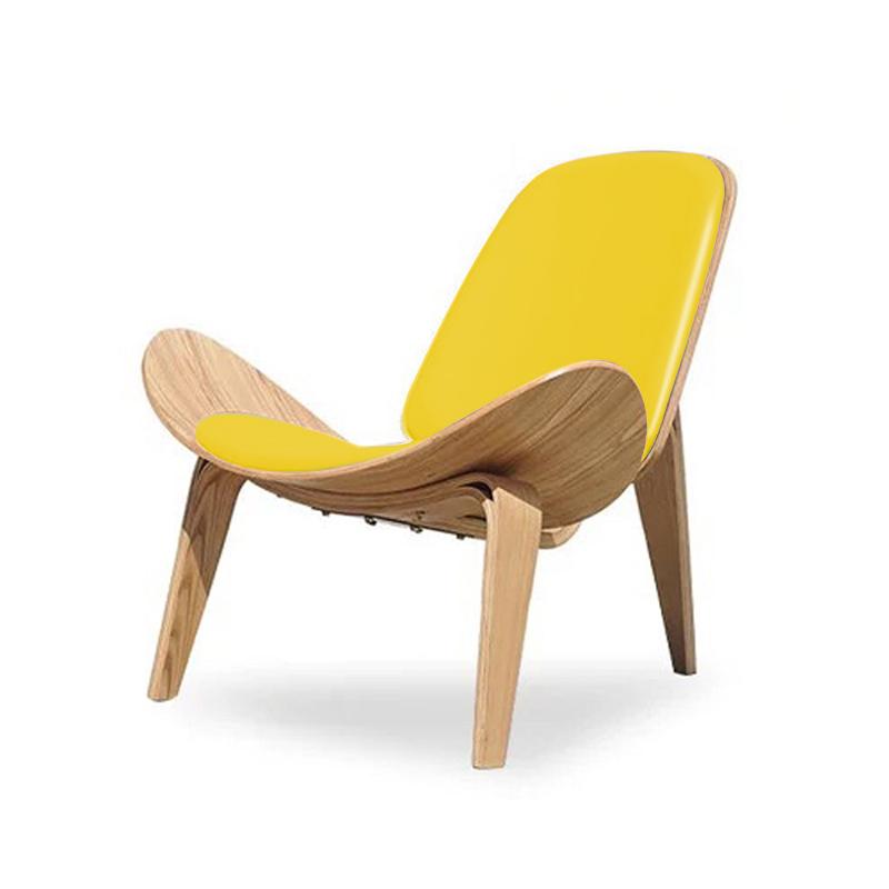 북유럽 의자 1인용 윙 라운지 체어 독서 안락 에그 벤스 의자, 우드 컬러 + 옐로우 가죽 패드