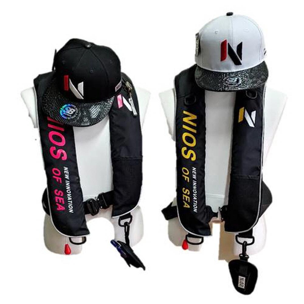 니오스 낚시 자동팽창식구명조끼 다이브 해양수산부 KOMSA, 블랙+화이트