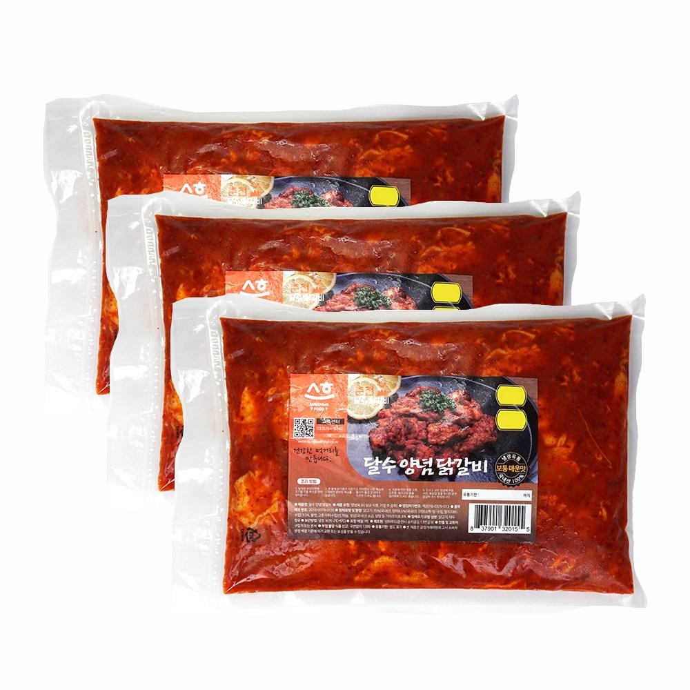 (떡사리증정) 양념닭갈비 3팩 총1.5kg 당일제조발송 냉장닭갈비 달수 춘천닭갈비, 500g, 3개