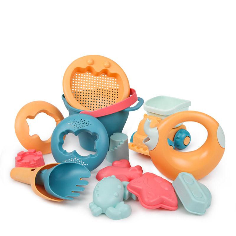 [해외 직송]뉴타임즈 모래놀이 야외완구 어린이 비치 장난감 세트 아기 모래 연못 모래삽입 모래삽입물과 통놀이도구 목욕 XZ15 C11, 1개, 06 14피스-제2세대